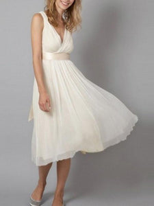 Soft Simple Chiffon V-neck Bridesmaid Dresses