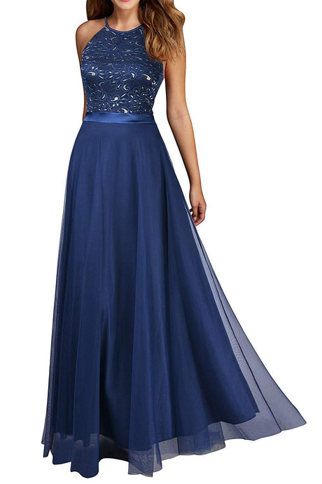 Halter Floor-Length Lace Chiffon Prom Evening Dresses