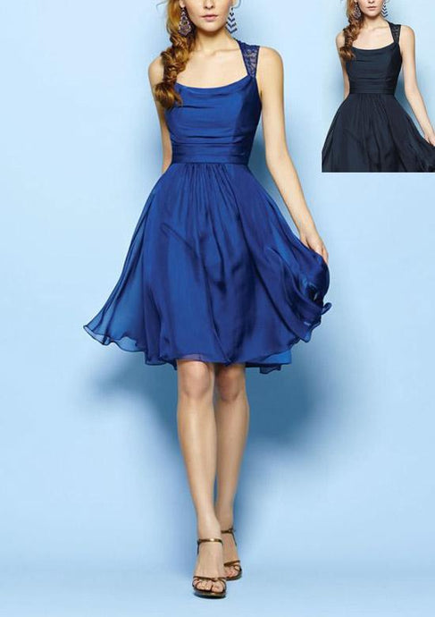 Blue Great Chiffon A-line Sleeveless Above-knee Square Neckline Bridesmaid Dresses