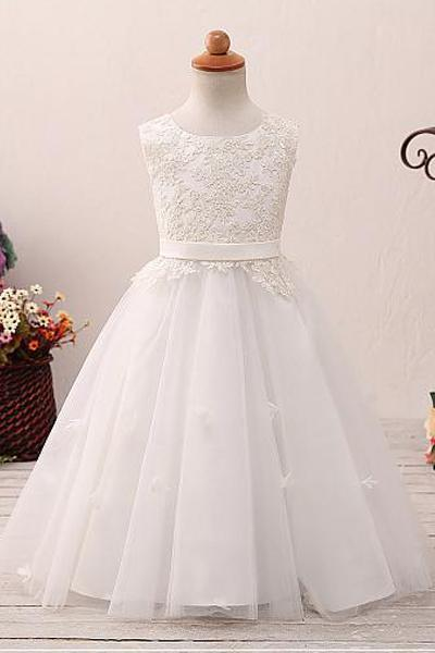 Lace Tutu Sleeveless Scoop Neck Flower Girl Dress