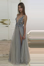 Princess V-Neck Tulle Beading Backless Prom Dresses