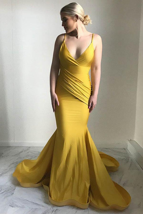 Elegant Mermaid Deep V-Neck Evening Dresses