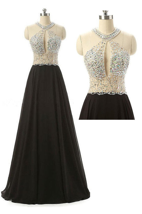 A-line Sleeveless Floor-length Beading Halter Prom Dresses