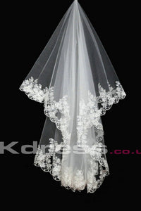Ivory 1 Tier Wedding Veils With Appliques