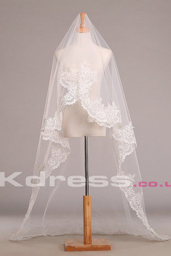 Lace Edged Cathedral Length Ivory Wedding Veils