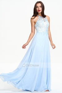 A-line Floor-length Sleeveless Sky Blue Evening Dress