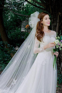 A-line Long Sleeves Lace Applique Long Bridal Wedding Dresses