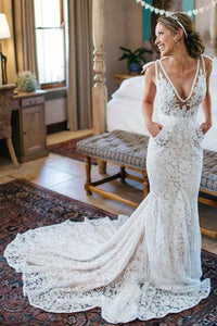 Neat Lace Chapel Train Natural Sheath/Column Wedding Dresses