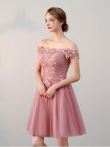 A-line Off-the-shoulder Above-knee Tulle Formal Prom Dress