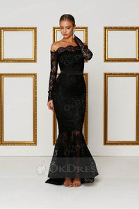 Black Off-the-shoulder Long Sleeves Trumpet/Mermaid Evening Gowns