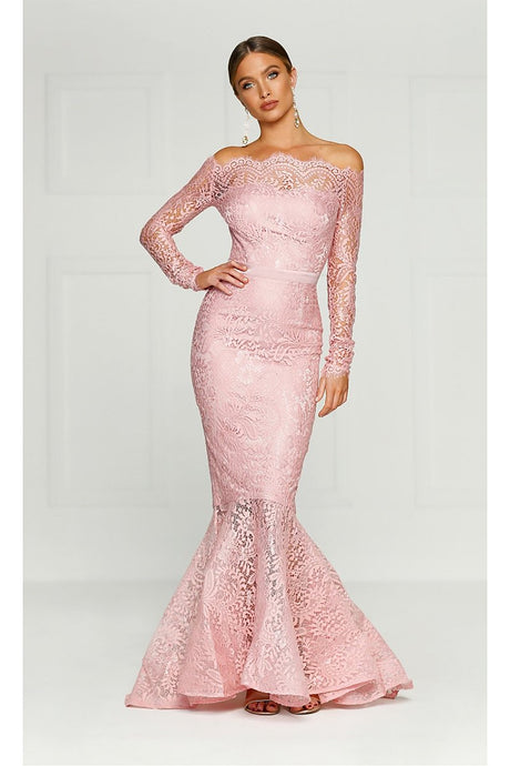 Pink Off-the-shoulder Long Sleeves Trumpet/Mermaid Evening Gowns