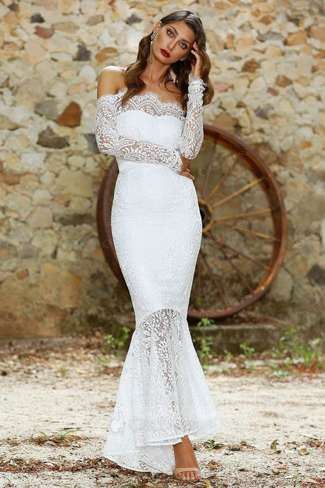 White Off-the-shoulder Long Sleeves Trumpet/Mermaid Evening Gowns