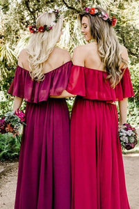 Amazing Chiffon Burgundy Bridesmaid Dresses