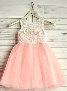 A-Line Round Neck Short Cute Tulle Flower Girl Dress with Lace