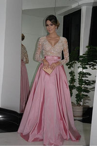 Pink Glamorous Taffeta Full/Long Sleeve Long/Floor-length Beaded Prom Dresses