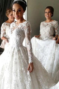 Ivory Mild Scoop Long Sleeves A-line/Princess Applique Wedding Dresses