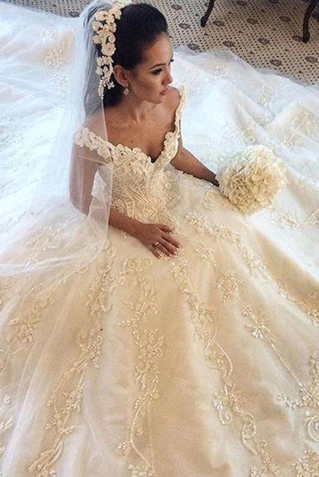 Delicate Chapel Train Sleeveless Off The Shoulder Natural Wedding Dresses