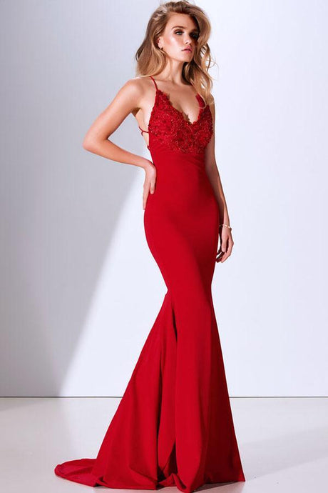 Red Trumpet/Mermaid Spaghetti Straps V-neck Long Evening Dresses