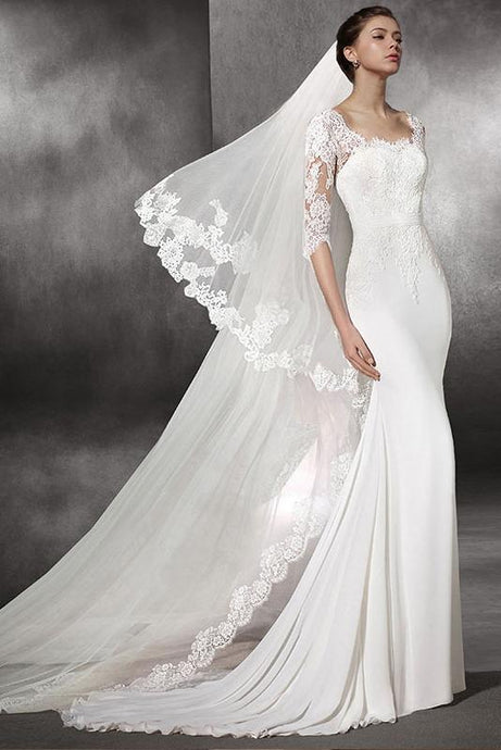 Trumpet/Mermaid Square 1/2 Sleeves Lace Applique Bridal Wedding Dresses