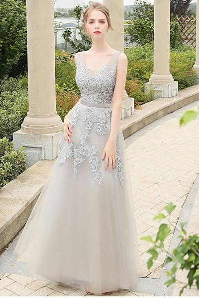 Silver Vintage A-line Lace Applique Beading Long Formal Prom Dresses