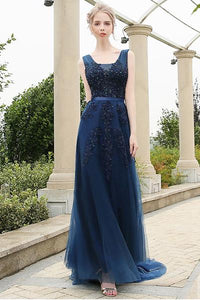 Dark Navy Vintage A-line Lace Applique Beading Long Formal Prom Dresses