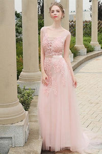 Pink Vintage A-line Lace Applique Beading Long Formal Prom Dresses