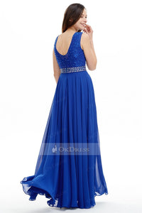 Blue A-line/Princess Royal Beaded Long Chiffon Prom Dress
