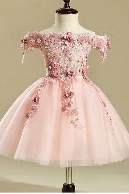 Pink Ball Gown Off-the-shouler Floral Tulle Flower Girl Dresses