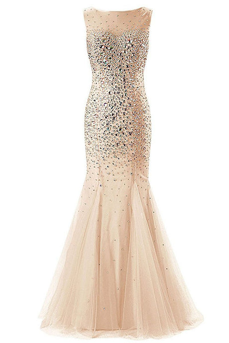 Mermaid Sleeveless Lace-up Champagne Tulle Crystal Detailing Prom Dresses