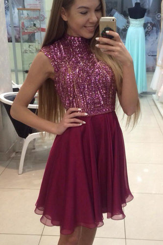 New Fashion Natural Sleeveless Chiffon Short/Mini A-line Prom Dresses
