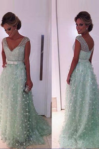 Gorgeous Sweep Train A-line Sleeveless Natural Prom Dresses