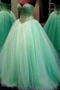 Green Intellectuality Ball Gown Lace-up Tulle Sweetheart Prom Dresses