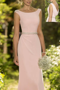 Pink Eye-Catching Scoop Neck Chiffon Covered Button Bridesmaid Dresses