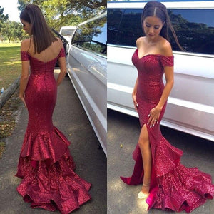 Trumpet/Mermaid Off-the-shoulder Flounced Split Long Sequined Prom Dresses