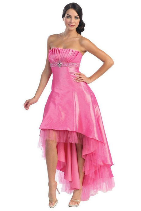 OKdress Long Short Bridesmaids High Low Pink Dress Formal Prom