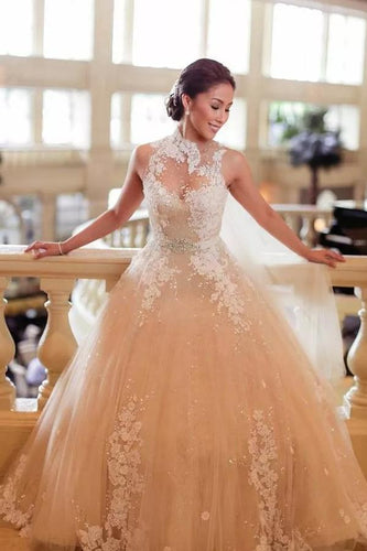 Adorable Tulle Ball Gown Sashes/Ribbons High Neck Wedding Dresses