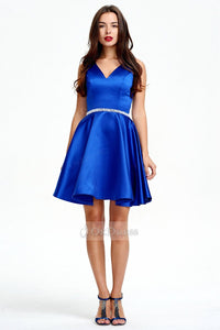 Blue OKdress V-neck A-Line Sleeveless Short Prom Dress
