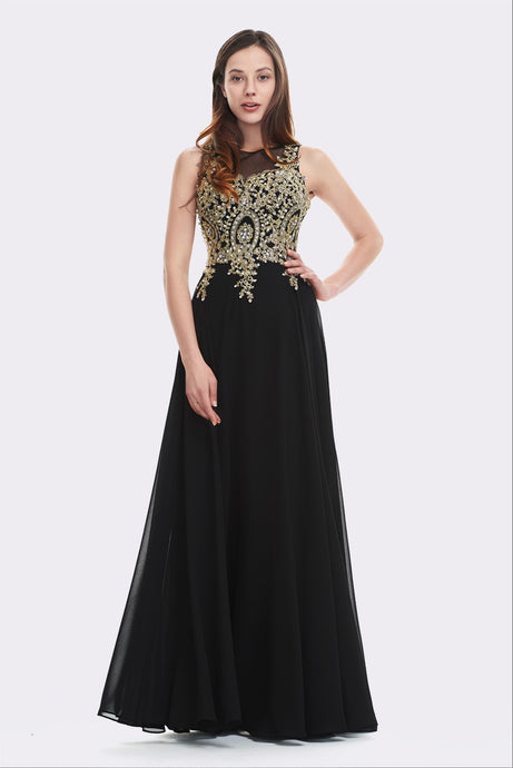 Black Floor-length Illusion-Embroidered Top Prom Dresses Online Sale