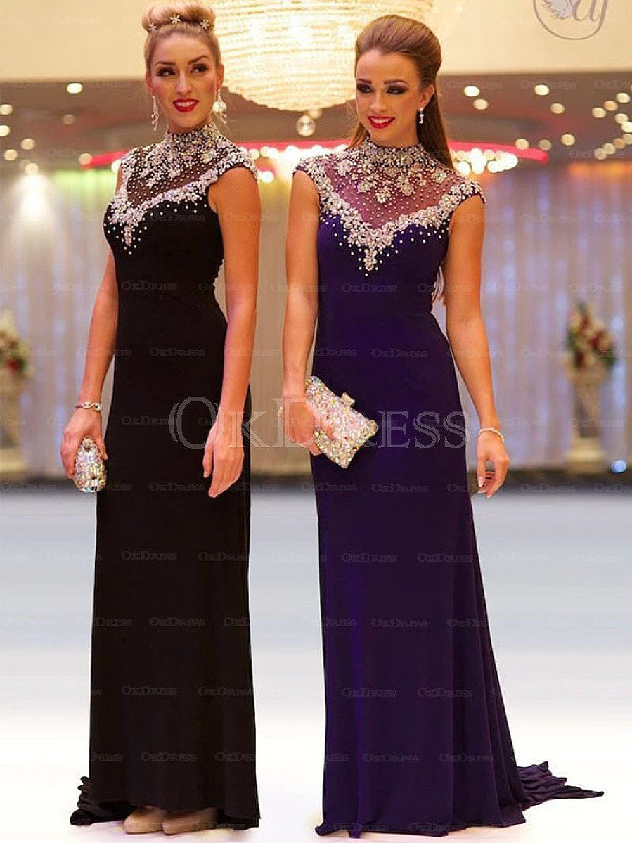 Black Admirable Sheath/Column High-neck Sleeveless Beading Long Prom Dresses