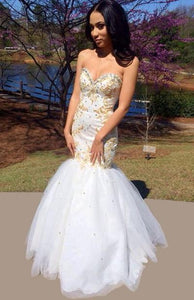 Special Design Floor-length Mermaid Tulle Prom Dresses