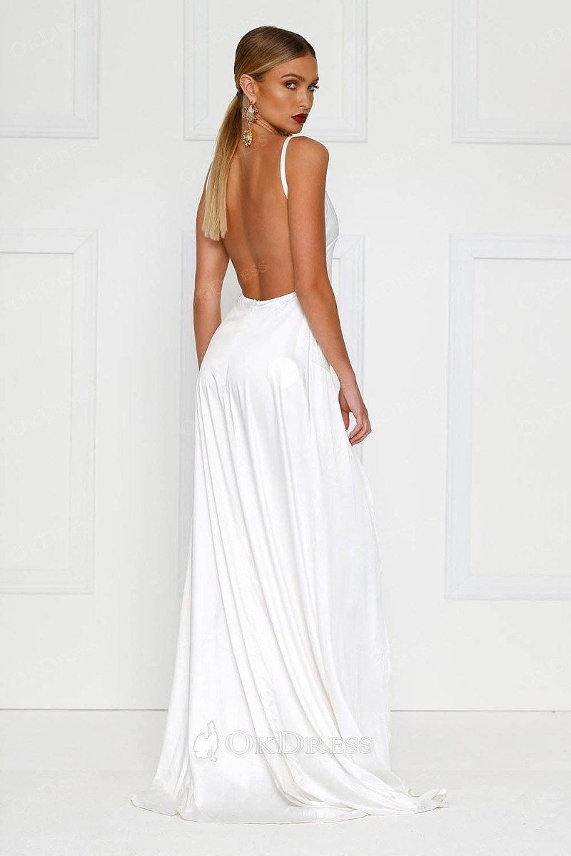 40870aa1e30 ... White Sexy Long Satin Prom Dress with Two Flirty Side Thigh-High Splits