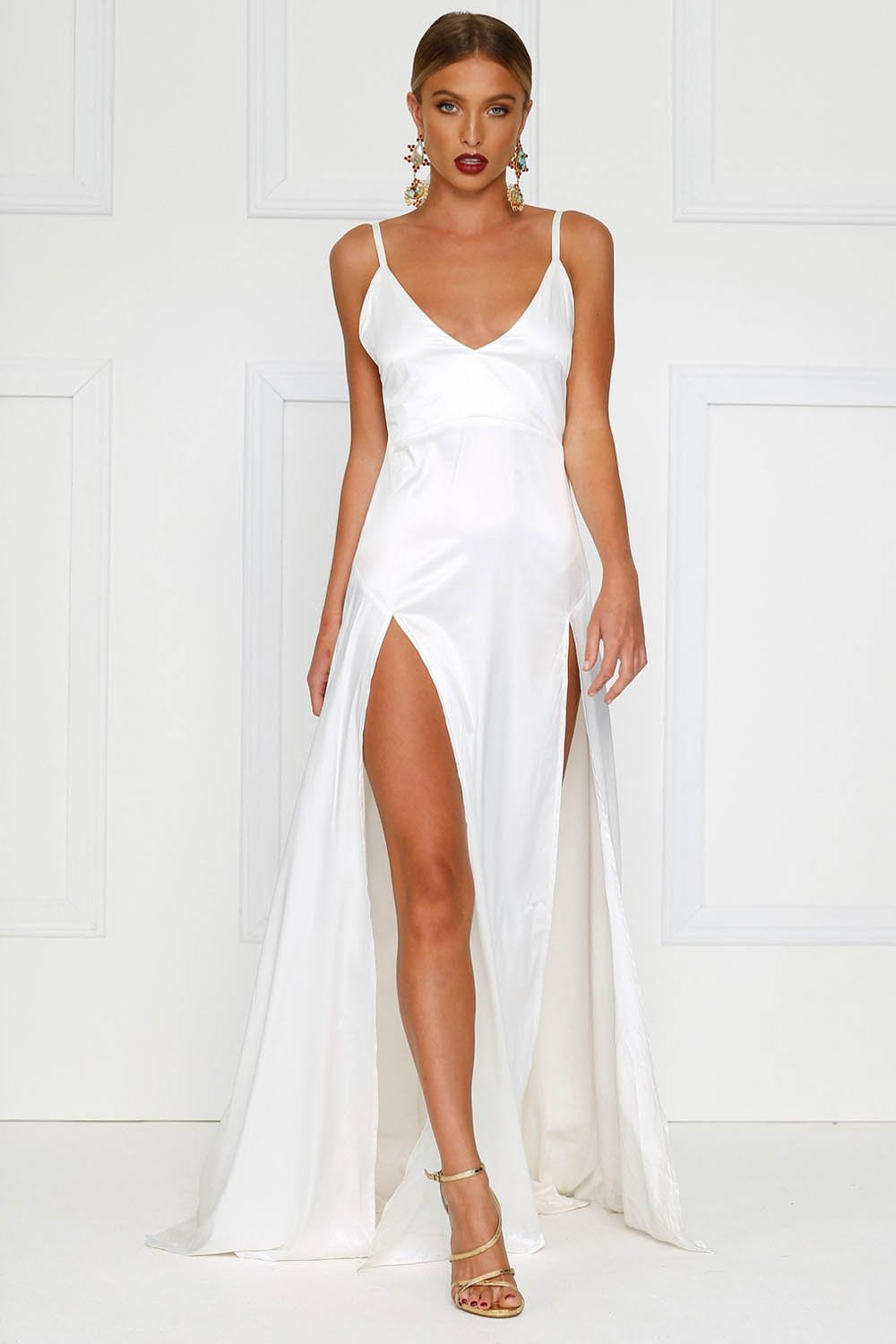f233c1afed6 White Sexy Long Satin Prom Dress with Two Flirty Side Thigh-High Splits