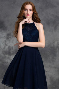A-line Halter Jewel Lace Top Chiffon Short Bridesmaid Dresses