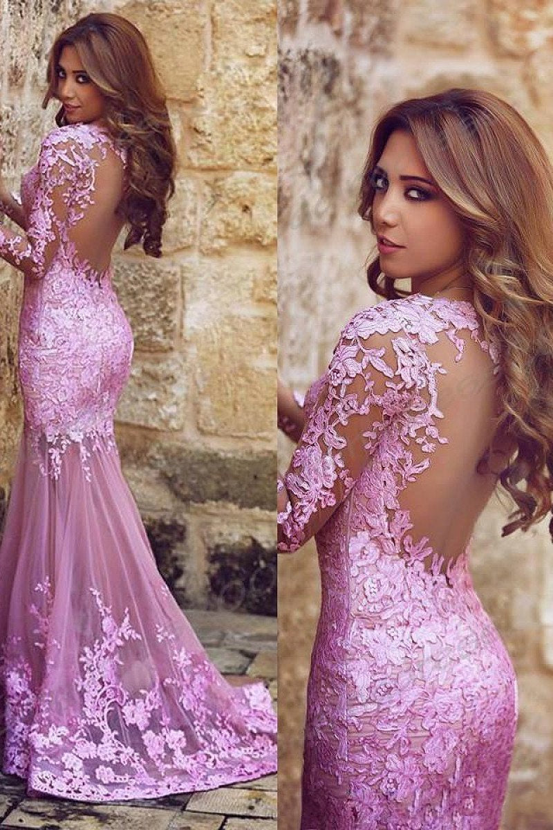 Surpassingly Long Sleeve Natural Zipper Up at Side Trumpet/Mermaid Prom Dresses