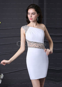 Courtlike Chiffon One Shoulder White Natural Zipper Up at Side Homecoming Dresses