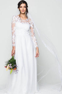 Sheath/Column Illusion Long Sleeves Wedding Dresses