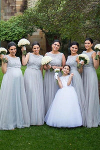 Silver Standing Out A-line Floor-length Sleeveless Tulle Bridesmaid Dresses