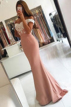 Pink Luxury Off-the-shoulder Trumpet/Mermaid Sweep Train Prom Dresses