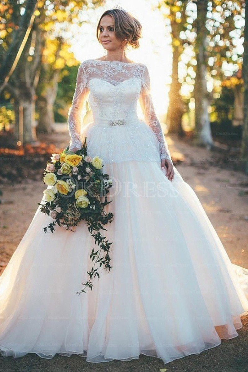 Gorgeous Bateau Zipper Natural Ball Gown Wedding Dresses