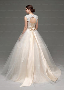 Awesome Champagne Tulle Lace-up Sleeveless Wedding Dresses